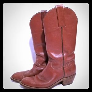 👢 Great Vintage Frye Brown Leather Cowboy Boots